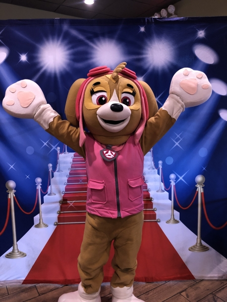 Pink Pilot Dog Character