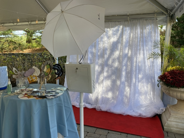 Open Air Photo Booth w/white  backdrop
